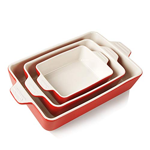 SWEEJAR Ceramic Bakeware Set, 11.8 x 7.8 x 2.75 Inches of Baking Pans (Red)