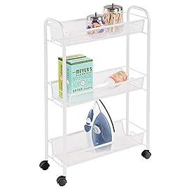 mDesign-Estantera-con-Ruedas-para-lavadero--Compacto-Mueble-Auxiliar-para-Guardar-detergente-quitamanchas-etc--Prctico-Carro-de-lavandera-en-Metal-con-Tres-estantes-Estrechos