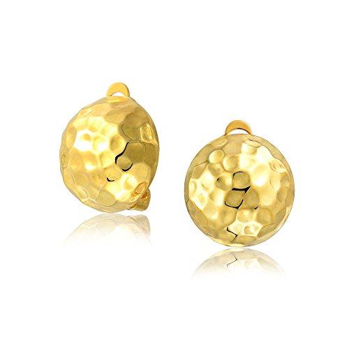 Bola Domo Clavados En El Botón Clip Pendiente Mujer 14K Chapado En Oro Y Plata 925 Con Clip De Latón No Perforados Oídos