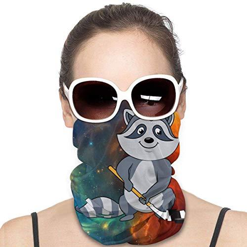 Cartoon Waschbär mit Hockeyschläger und Puck Mode Vielfalt Kopftuch nahtlose Gesichtsmaske Bandanas für Staub, Outdoor, Festivals, Sport