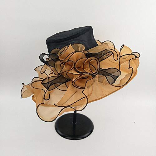 DLSM Sombrero Anti-Ultravioleta raz Hilo Sombrero seoras Flor Grande Moda Hilo de Malla Sombrero Sombrero de ala Grande-Dorado_Talla nica