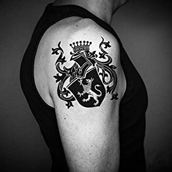 Family Crest Coat Of Arms Temporary Tattoo Sticker  Set of 2  - www.ohmytat.com