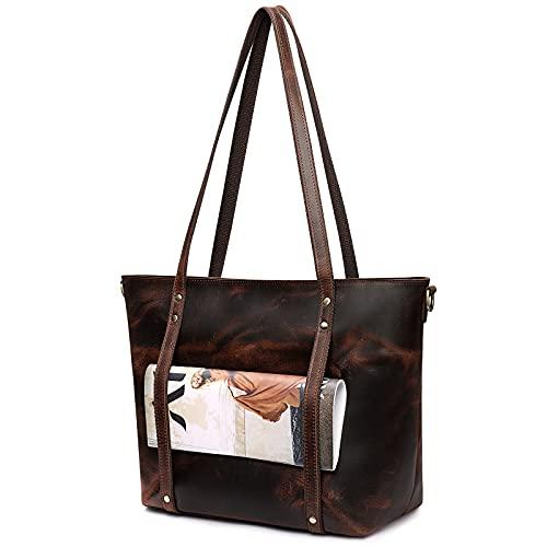 S-ZONE Bolso de mano de cuero genuino para las mujeres Vintage bolso de hombro con correa Crossbody, marrón (Café Oscuro), Large