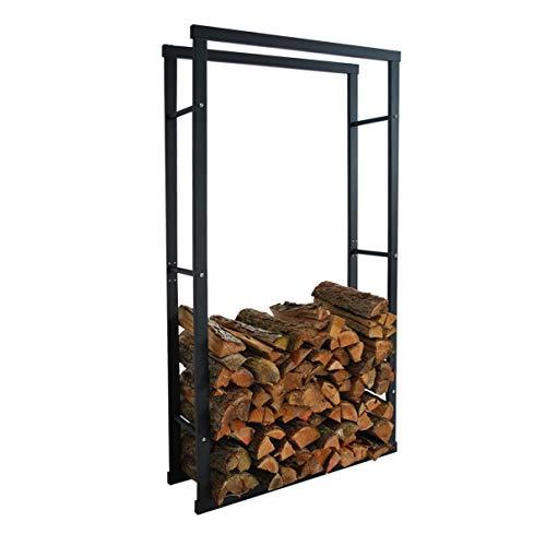 HELO 'K8' Metall Feuerholzregal 80x150x25 cm schwarz pulverbeschichtet für innen und außen zur Lagerung von Kaminholz indoor & outdoor, Kaminholzregal aus Metallgestell mit Vierkantrahmen Streben