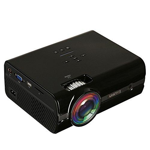 Uhappy U45 2200 lúmenes 1080P LED HD Mini proyector de cine en casa con control remoto, compatible con USB + VGA + SD + HDMI + AV + TV