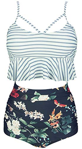 COCOSHIP Slategray White Striped & Bird Floral Falbala High Waist Bikini Set Crisscross Hollow Out Swimsuit Travel Swimwear XXXL(US14)