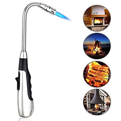 SHUNING Accendino a torcia per candele Flessibile a 360 ° Collo regolabile Accendisigari a gas Accendisigari antivento Cucina da campeggio Fuoco Inizio(Silver)