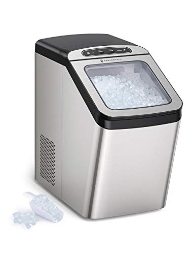 TaoTronics Nugget Ice Maker for Countertop, Sonic Ice Maker Machine, Makes 26lb Nugget Ice per Day, Crunchy Pellet Ice Maker with 3.3lb Ice Bin and Scoop for Home Office, Self-Cleaning