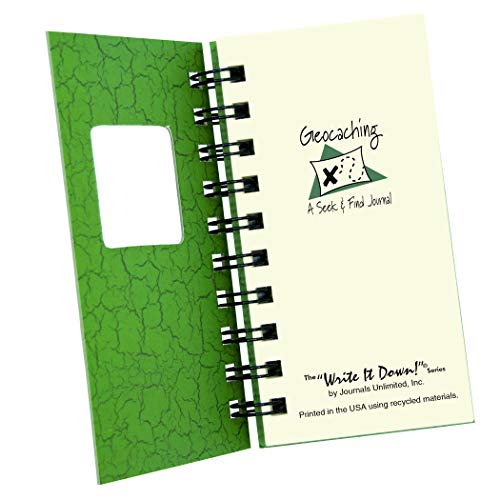 "Journals Unlimited ""Write it Down!"" Series Guided Journal, Write It Down, Geocaching, A Seek & Find Journal, Mini-Size 3�x5.5�, with a Green Hard Cover, Made of Recycled Materials Photo #3"