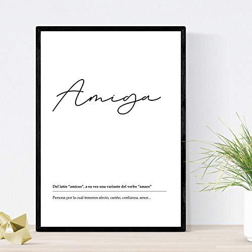 Lámina Palabra Amiga Lámina nordicas blanco y negro. Poster 250 gr y tintas alta calidad Tamaño A3 Sin marco