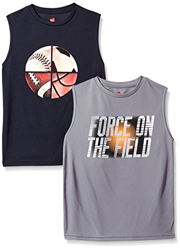 Hanes Boys' Big Sport Sleeveless Graphic Performance Tee (Pack of 2), Navy/Unlimited/Concrete/Force On The Field, XL