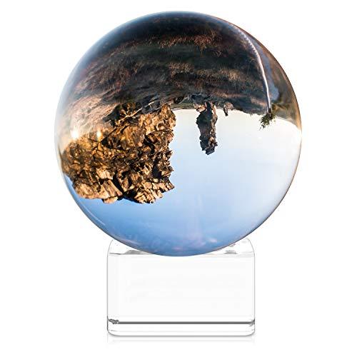 Navaris Glaskugel Fotografie Kugel aus K9 Glas - Fotokugel mit Ständer - Kristallkugel klare Kristall Deko mit Glasständer - Ø 80mm