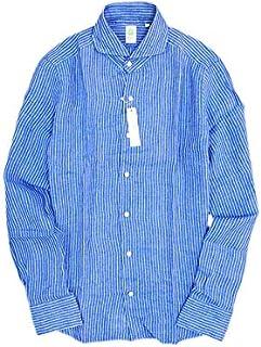 [フィナモレ] イタリア製 GENOVA 044184 ホリゾンタルカラー ストライプ リネン シャツ ブルー 41 16 ok180803-3
