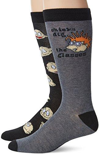 Nickelodeon mens Rugrats 2 Pack Crew Casual Sock, Black Assorted, 10 13 US