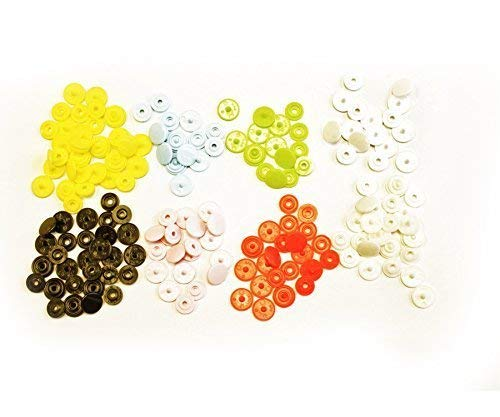 Kam Snaps T3 (Size 16) Button Stud Closures Snap Fasteners in 8 Colours (160 Pieces) - 10.7Mm