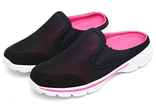 ChayChax Zapatillas de Estar por Casa para Mujer Hombre Zuecos Cómodos Suave Pantuflas de Interior Exterior Antideslizante Ligero Planos Zapatos de Casa, Negro, 35 EU