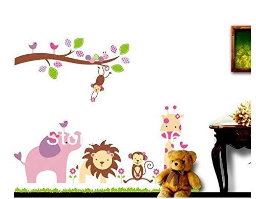 ZJMIQT World of Animal Stickers Jungle Africaine Lion Singe éléphant Arbre murales Chambre à Coucher Salon de Décoration