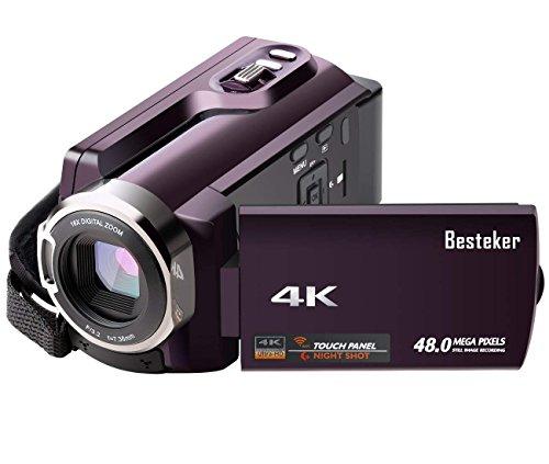 Kamera Camcorder 4K, Besteker Videokamera 48 MP Kamera mit WiFi, IR Nachtsicht, 16X Digital Zoom, 3,0 Zoll Touchscreen und SD/TF-Karte Unterstützt Weitwinkelobjektiv