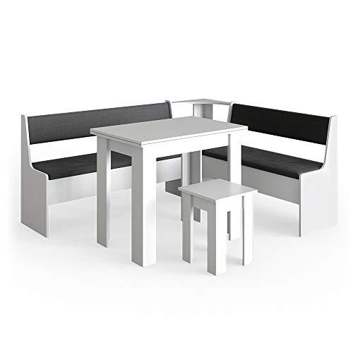 Vicco Eckbankgruppe Roman Esszimmergruppe Eckbank Sitzgruppe Tisch Hocker (Weiß, 180x150cm)