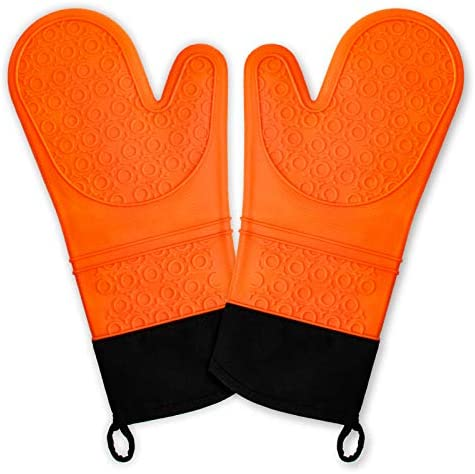Chrider Silicone Non Slip Oven Mitts Set Heat Resistant Cooking Gloves Waterproof BBQ Kitchen product image