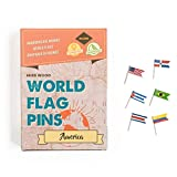 Miss Wood America Banderas del Mundo World Flag Pins, Adhesivo, Rosa, 15.6 x 11 x 2...