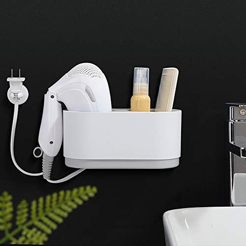 Soporte para secador de pelo, soporte para secador de pelo, diseño adhesivo, organizador de herramientas para el cabello, juego de almacenamiento con soporte para enchufe