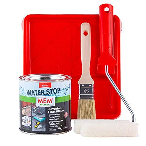 MEM WATER STOP 1KG - Dichtmasse wasserdicht - Universalabdichtung und Feuchtigkeitssperre im Set mit Farbwanne, Malerbügel, Velourwalzen & Pinsel für eine schnelle,...