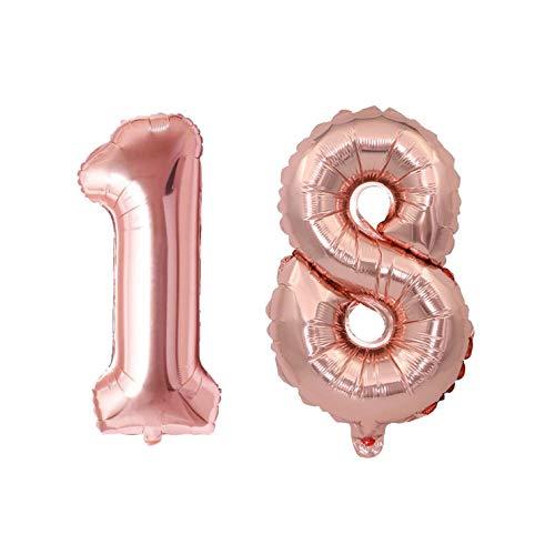 Globos de 100 cm de color oro rosa, con números para cumpleaños, bodas, aniversarios, fiestas, decoración de globos (número 18)