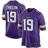 USNN Adam Custom Thielen Maillot de football américain Minnesota Vikings Maillot de football Violet/blanc #19 Reproductible Nettoyage Sweatshirt pour homme
