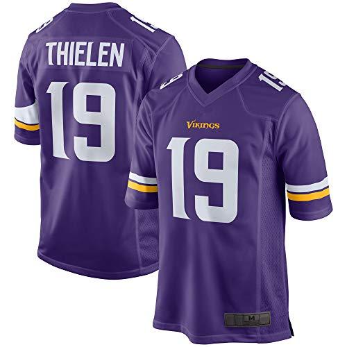 EWRFS Camisetas Personalizadas de Jersey de fútbol Americano Thielen Vikings # 19 Minnesota Adam Game Player Jersey Sudadera Transpirable para Hombres - Púrpura (Púrpura, M)