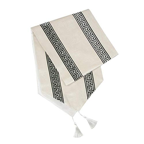 Home decoration Table Runners Modern Stripe Bed Runner For Wedding Geometric Luxury Cloth With Tassels Dining Decoration Party Home for home Party Decoration ( Color : White A , Size : 33cmx180cm )