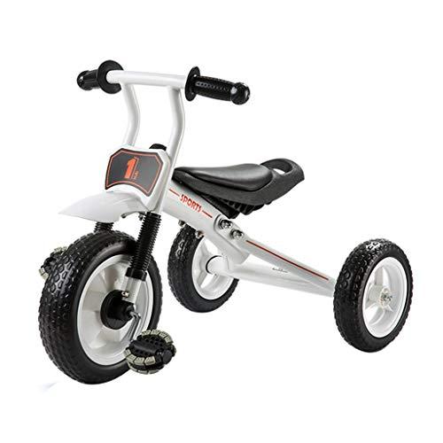 Xing Hua Home Landaus Tricycle pour Enfants Poussette Familiale Garçon 1-3 Ans, Chariot À Vélo pour Enfant Léger Design À Plusieurs Étages (Color : Blanc, Size : 77 * 47 * 51cm)
