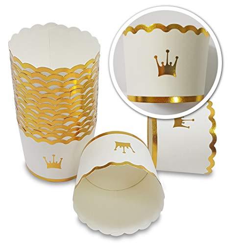 Frau WUNDERVoll® 100 Muffin BACKFORMEN Krone Gold Durchmesser 6,1 cm/Muffinbackform, Muffinform, Backformen, Backförmchen, Cupcake Formen, Muffin Förmchen Papier