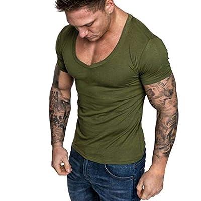 Winsummer Mens V-Neck Tee Shirt Premium Fitted T-Shirt Cotton Stretch Classic T-Shirts Summer Casual Shirt