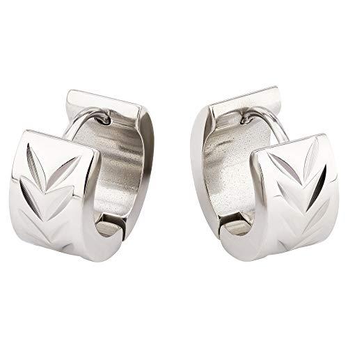 Bungsa - Pendientes de aro con acabado satinado, 4 mm, 1 par de aros con cierre de clip de acero inoxidable (pendientes, pendientes de pinza, para mujer y hombre)