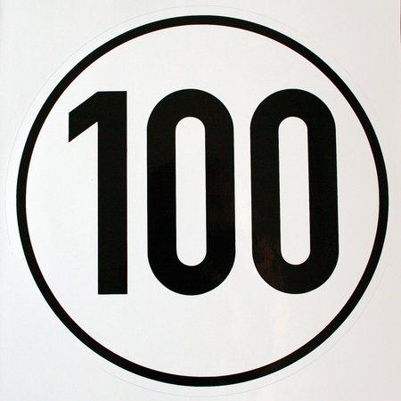 Geschwindigkeitsschild 100 km/h, Hinweisschild für Kraftfahrzeuge (zulässige Höchstgeschwindigkeit), ALU geprägt, Ø 200 mm, zur Anbringung an das Fahrzeug 100 km/h