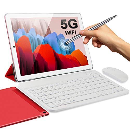 5G Tablet 10 Pollici con Wifi Offerte 4GB RAM 64GB 128GB Espandibili Android 10.0 Certificato Google GMS 1.6Ghz Tablet PC 6000mAh 5+2MP Bluetooth GPS Tablet WiFi Versione con Tastiera e Mouse(Rosso)