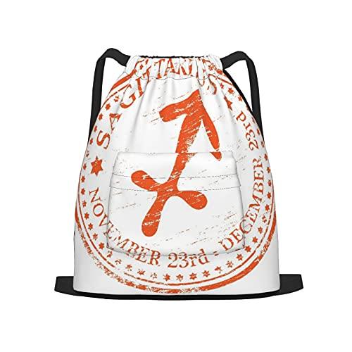 BohoMonos Mochila deportiva con cordón,Ilustración de sello de goma de signo de estr, Gym Sackpack para Hombres Mujeres Niños Yoga Travel Camping String Bag.