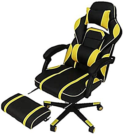 AE Gaming Chair, Executive Computer Chair High-back Ergonomic Desk Chair Racing Chair, Leather Office Chair Including Headrest and Lumbar Support (Yellow/Black)