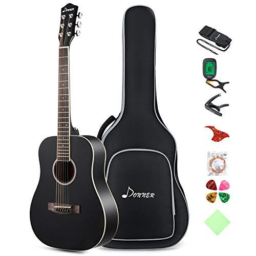 Donner 3/4 Akustik Gitarre für Anfänger Akustikgitarre Set Akustik Gitarren Erwachsene 36 Zoll Dreadnought mit Tasche Capo Plektren Gurt Saiten(Schwarz)
