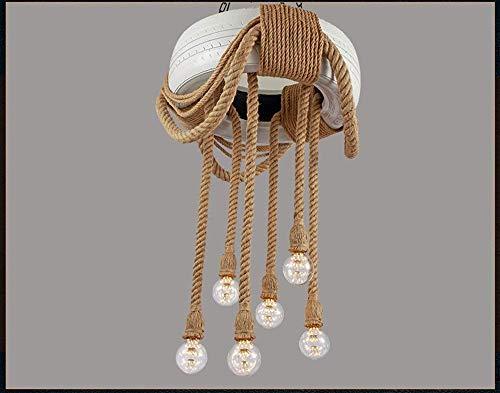 C-LT Deckenleuchte Reifen Kronleuchter Hanfseil Farbe Retro Industrie Wind Bar Licht Cafe Loft Studio Kronleuchter Beleuchtung Persönlichkeit, Weiß