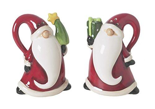 Excelsa Santa Claus zout en peper, keramiek, rood, 6 x 4,5 x 8 cm, 2 stuks
