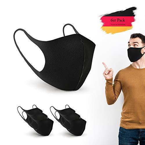 BartZart 6er Staubschutzmasken aus EIS Seide I waschbar und wiederverwendbar I Face Mask Black I Flexible Mundschutzmaske I Nasenschutzmaske I Motorrad Maske I Staubmaske (6 Stück)