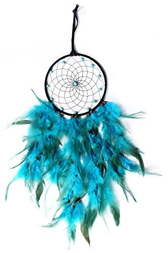 Nuts OT nuts Atrapasueños para niñas, hecho a mano, con plumas, bohemio, decoración para dormitorio, niños, niñas, habitación de niños, decoración para fiestas, regalo creativo (azul)