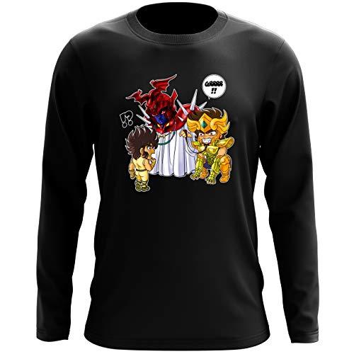 Okiwoki T-Shirt à Manches Longues Noir Saint Seiya parodique Aiolia Chevalier d'or du Lion et Seiya de Pégase : Les Rues du Sanctuaire de Plus en Plus Mal fréquentées. (Parodie Saint Seiya)