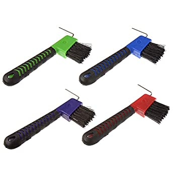 BOTH WINNERS 4Pcs Horse Hoof Pick Brushes with Soft Touch Rubber Handle