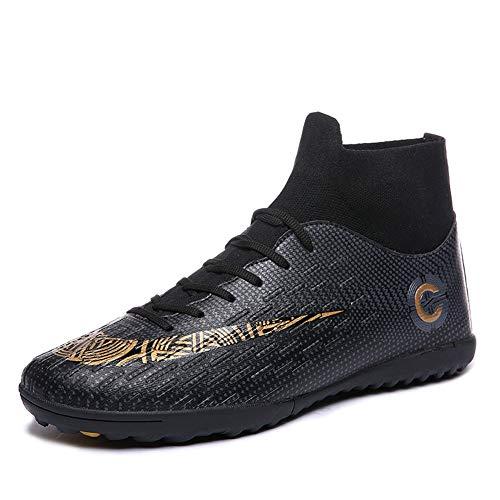 Mengxx Fußballschuhe für Herren, FG-Schuhe (fester Untergrund) mit hohem Schaft, für Sport, - Black R - Größe: 44 EU