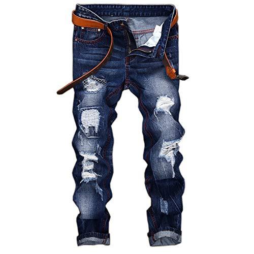 Beastle Jeans para Hombres Pantalones Vaqueros de Pierna Recta Rasgados Europeos y Americanos de Moda para Hombres Pantalones Vaqueros Casuales con Personalidad Retro y Antigua 29