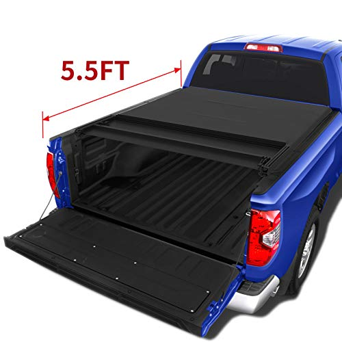 oEdRo Quad Fold Tonneau Cover Soft Four Fold Truck Bed Covers Compatible for 2009-2014 Ford F-150 F150 5.5 Bed Styleside