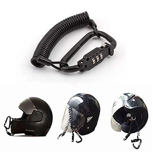 Candado para casco de motocicleta, combinación de pines, cierre de mosquetón, seguro para motocicletas con cable de 1,8 m, para casco de bicicleta, armarios, equipaje, resistente al agua